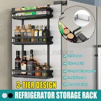 3 Tier Kitchen Refrigerator Side Spice Rack Storage Organizer Hanging Shelf Rack