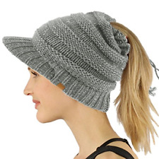 SK Hat shop Everyday Open Top Messy Bun Ponytail Stretchy Knit Visor Beanie Hat