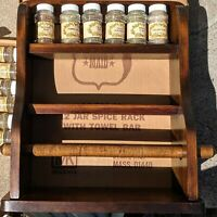 Vintage Wood Spice Rack w/Towel Bar 12 Jars American Maid 70s/80s Original Box
