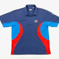 VTG Fila Men's Tennis US Open 2002 Performance Polo Shirt Blue/Red • XL