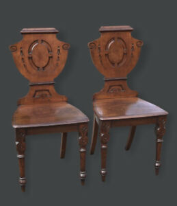 Pair Of Victorian Shield Back Hall Chairs In Mahogany. Country House Furniture