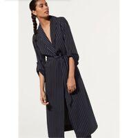 BABATON Aritzia $228 Pin Striped Long Kahlo Trench Robe Jacket Top Size Medium
