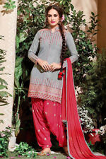 GRAY-RED COTTON INDIAN SALWAR KAMEEZ SUIT DRESS MATERIAL RESHAM EMBR LADIES DEN