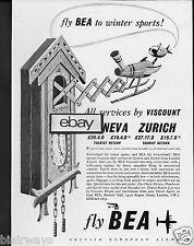 BEA BRITISH EUROPEAN AIRWAYS 1954 VISCOUNTS TO GENEVA & ZURICH CLOCK AD