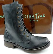 Women's Shoes Diba True JUMP BACK Lace Up Zip Combat Boots Leather Grey Size 7.5