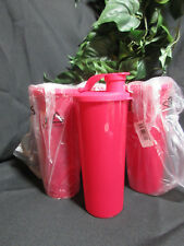 Tupperware NEW Sparkling Tumblers Chili Red Flip-Top Seals 16 oz Set of 4