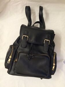 Forever 21 Backpack Large Black Faux Leather With Silver Tone Hardware EUC