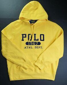 POLO RALPH LAUREN Men's Yellow POLO 1967 ATHL. DEPT. Fleece Pullover Hoodie NWT