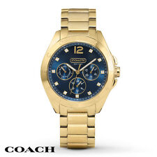 NWT Coach WOMEN'S TRISTEN GOLD TONE BLUE DIAL BRACELET WATCH 36MM 14501887