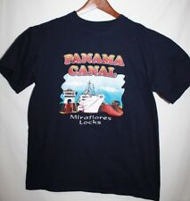 PANAMA CANAL MIRAFLORES LOCKS Mens L T Shirt Navy Cotton SHIP TRAVEL Iulass