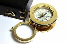 Solid Brass Compass with magnifying Glass - Map Reading Compass-W HardWood BOX