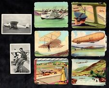 8 Mixed Aviation Cards Belgian German Aircraft Planes Flying Zeppelin Airport