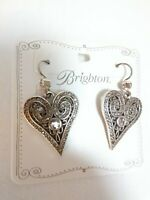 NWT Brighton Mumtaz Romance Heart Crystal French Wire Earrings/Silver-Plated/$68