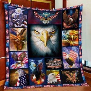 American Eagle Quilt Blanket Thanksgiving Christmas Birthday Gift
