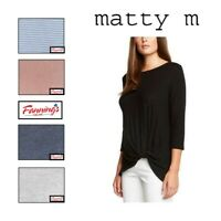 NEW! Matty M Ladies' Top Fashionable Front Knot 3/4 Sleeve Shirt VARIETY C21 C22