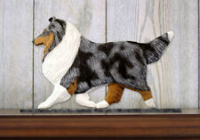 Sheltie Dog Figurine Sign Plaque Display Wall Decoration Blue Merle