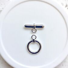 Toggle/Clasp, Silver-Plated Brass, 13mm Smooth Flat Round. 4 sets per pack.