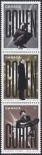L. COHEN = Singer = Vertical strip of 3 diff VALUE from Pane Canada 2019 MNH-VF
