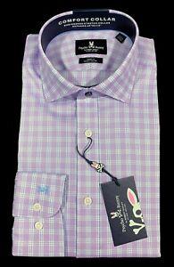 Men's PSYCHO BUNNY Purple White+ Plaid Dress Shirt 15 1/2 32/33 NWT NEW Cotton +