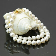 """Fashion 2 rows 10-11mm white freshwater cultured pearl bracelet 7.5"""""""