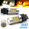 Dual Color White/Amber 3157 LED DRL Switchback Turn Signal Parking Light Bulbs
