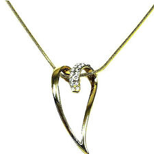 Goldtone diamante heart necklace pendant sparkly rhinestone bridal REDUCED