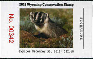 WYOMING  #34  2018 STATE CONSERVATION /  DUCK STAMP BADGER By Justin Hayward