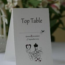 WEDDING TABLE Number Cards Personalised Freestanding Double Sided - Tux