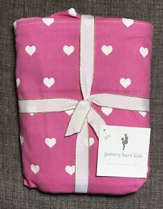 Pottery Barn Kids Bright Pink Twill Heart Regular Anywhere Chair Slipcover Only