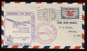 Very Nice 1938 Santa Barbara CA National Airmail Week Cover G3728