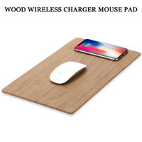 2 in 1 Wood Wooden Grain Wireless Charger Fast Charging Mouse Pad For Smartphone