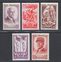 France 1943 MNH Mi 589-593 Sc B153-157 Marshal Henri Petain. LUXUS set ** WW2