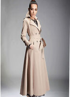 Womens Lapel Belt Double Breasted Maxi Long Slim Trench Coat Outwear Leisure Hot