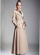 Ladies Windbreaker Lapel Belt Double Breasted Maxi Long Slim Trench Coat Outwear
