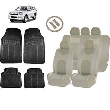 ALL BEIGE HONEYCOMB SEAT COVERS AIRBAG READY SPLIT BENCH MATS FOR SUVS 1548
