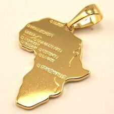 """1.73"""" 7g CUTE AFRICA MAP CHARM REAL 18K YELLOW GOLD PLATED SOLID PENDANT 4030dw"""