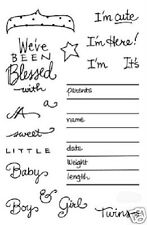 STAMPENDOUS Clear Stamps NEW BABY Boy Girl Blessed Cute