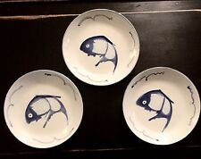 """3 Oriental BLUE WHITE China KOI FISH DINNER PLATE 10.25"""" Squiggle Mult Available"""