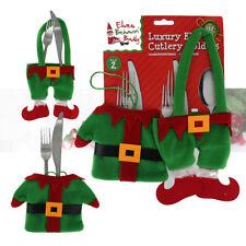 PMS® 2pc Luxury Elf Christmas Cutlery Holders Tableware Table Decoration Set