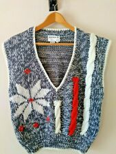 Vintage Snowflake Hand Knitted Winter Sweater Vest M Evian II