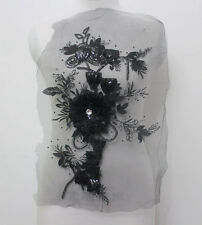 1Pcs Embroidery Tulle Sequin Crystal 3D Flower Lace Applique/Patch~Sew On Black