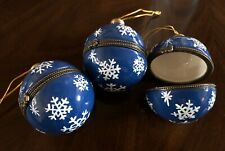 Blue Porcelain Christmas Ball Ornament Trinket Box Hinged Snowflakes Set Of 3