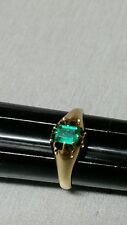 Antique handmade genuine columbian emerald ring 14k gold