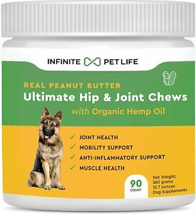 Peanut Butter Hip and Joint Chews for Dogs Glucosamine Chondroitin 90 Soft Chews