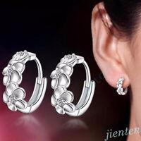 Fashion Women Silver Plated Crystal Rhinestone Flower Stud Earrings Hoop Jewelry