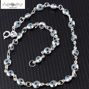 """Women 925 Sterling Silver White and Blue Evil Eye Bead Anklet Foot Bracelet 9.5"""""""