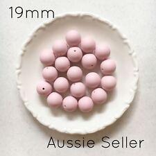 10 silicone beads BLUSH PINK 19mm round BPA free 4 sensory jewellery 20mm light