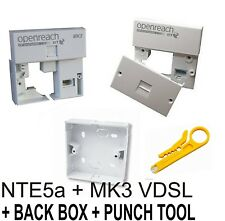 BT Openreach MK3 VDSL - FIlter + NTE5a Master Socket + Back Box + IDC Tool
