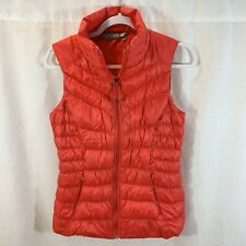 Athleta Puffer Vest Jacket Coat Red Goose Down Quilted Womens Small