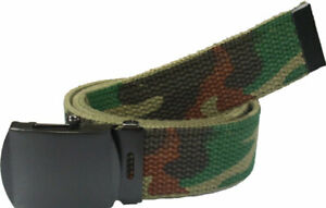 Military Web Belt Cotton Canvas Adjustable Camo Army Tactical Skater Webbed